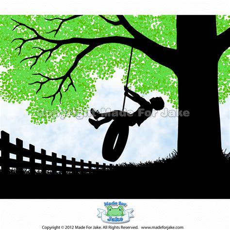 silhouette swing boy silhouette on tire swing with green tree nursery or