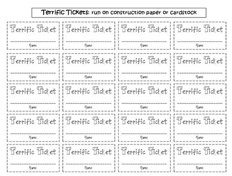 printable raffle tickets for students fluttering through first grade what s your trick