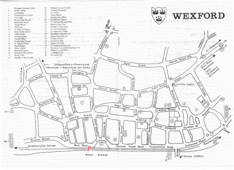 map of wexford town map of a suggested tour of county wexford