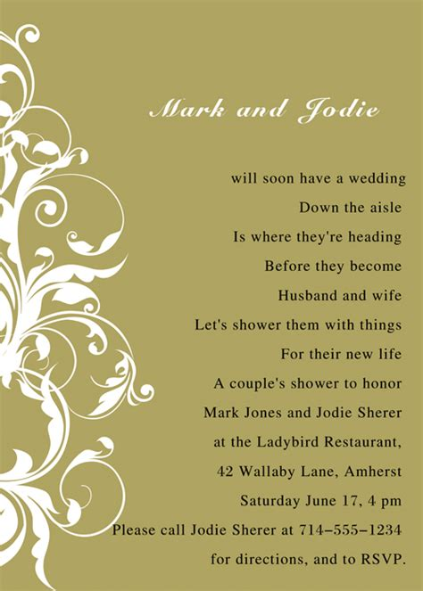 Bridal Shower Poems by Poetic Bridal Shower Invitations Ins012b Invitation