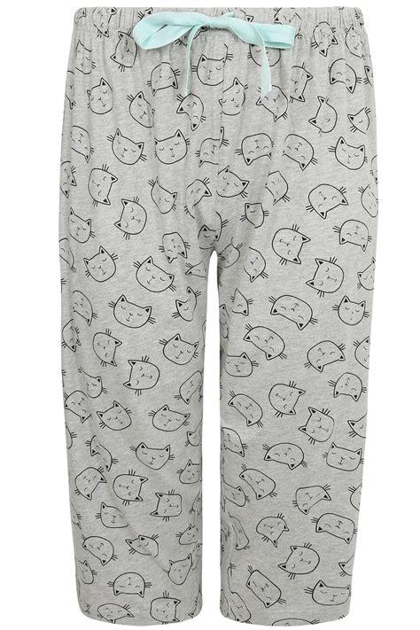 pantalon de pyjama courts noirs 224 imprim 233 de chat dormant
