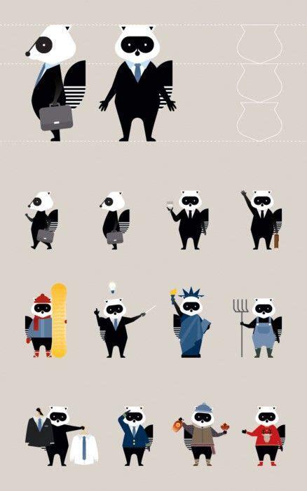porter panda mascot design raccoon illustration