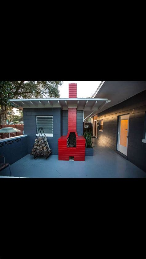 outdoor fireplace mid century modern home for sale orlando