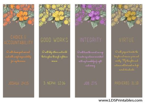 printable lds bookmarks i love the young women values free bookmarks and lots of