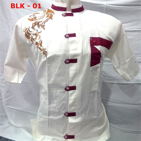 Baju Koko Bordir Lengan Pendek 006 baju koko putih lengan pendek bordir busana muslim pria