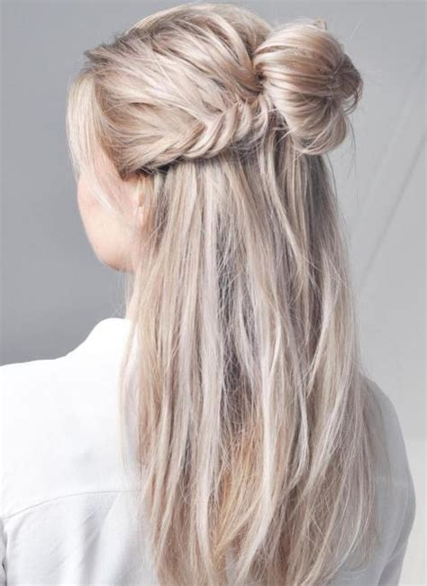 Half Updo Bun Hairstyles | 30 gorgeous braided hairstyles for long hair