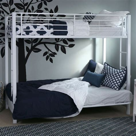 metal futon bunk bed frame in white btofwh