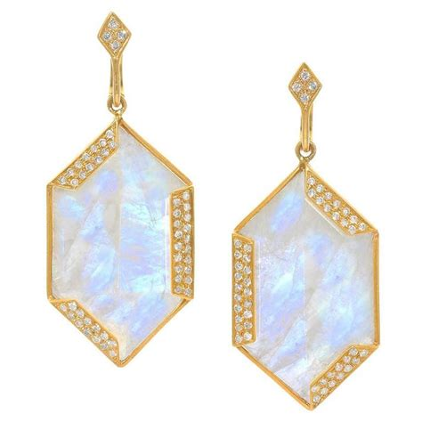 Hexagon Dangle Earrings golden hexagon moonstone gold dangle