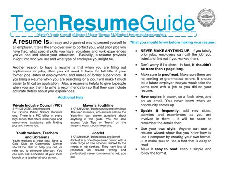 Teen Resume Example by Teen Resumes Free Excel Templates