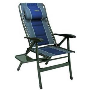 Quest Directors Chair Side Table Quest Elite Ragley Comfort Cing Reclining Chair With Side Table Blue Caravan