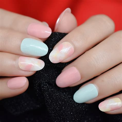 japanese style clouds acrylic nails bright multi color