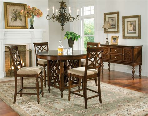 counter height dining sets round table woodmont brown cherry round counter height dining room set