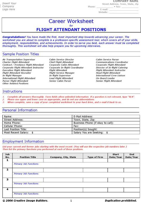 Resume Flight Attendant Exle by Career Worksheet Flight Attendant Resume Free