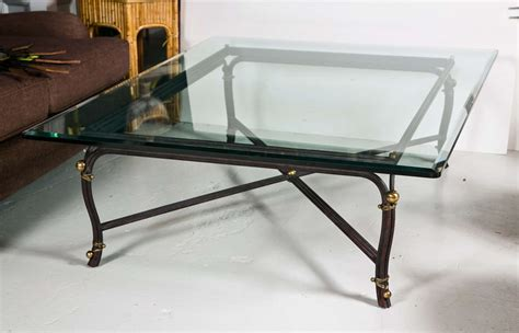 Large Glass Top Coffee Table Large Bronze Base Coffee Table With Beveled Glass Top At 1stdibs