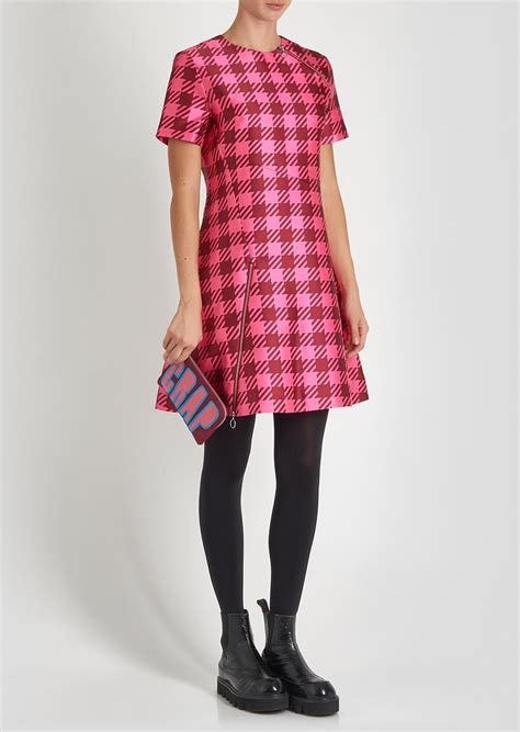 Gingham Panel A Line Dress lyst house of gingham panel dress in pink