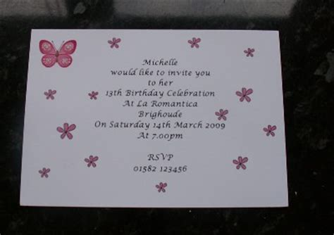 13th birthday party invitation wording cimvitation