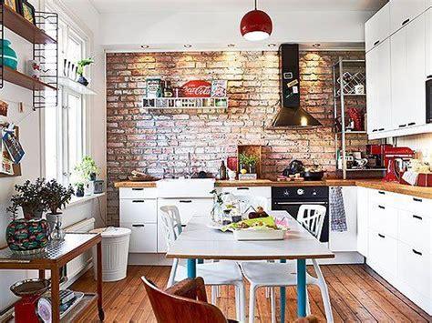 cocina  pared de ladrillo visto