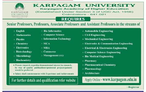 Mba Faculty Salary As Per Aicte Norms by Karpagam Coimbatore Wanted Teaching Faculty