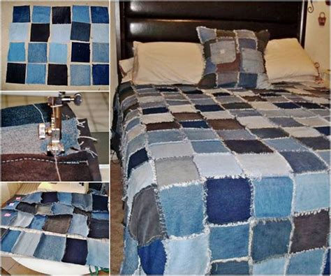 wonderful diy denim rag quilt   jeans