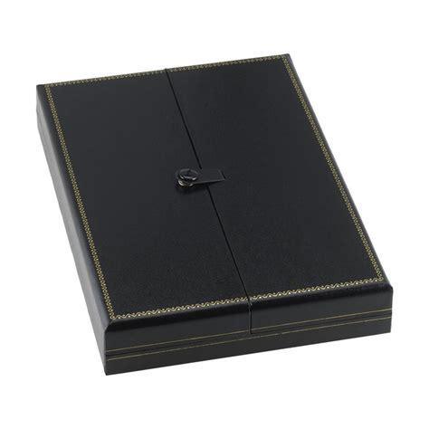 black faux leather snap tab necklace gift box