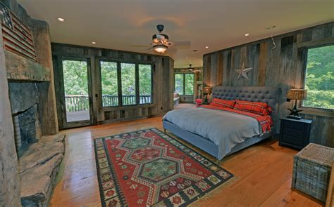 distressed wood ceiling fan grey and orange bedding bedroom rustic with ceiling fan