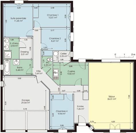 plan de maison 120m2 4 chambres plan maison moderne 120m2 projet maison
