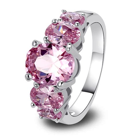 new fashion jewelry aaa silver ring pink sapphire