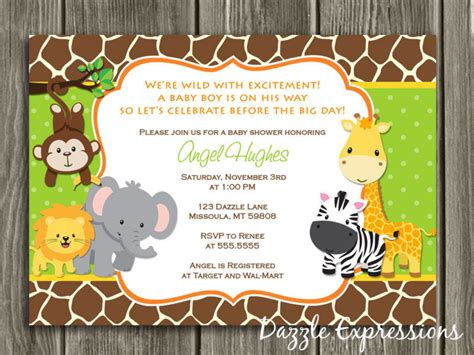 printable jungle baby shower invitation free thank you card included safari neutral theme
