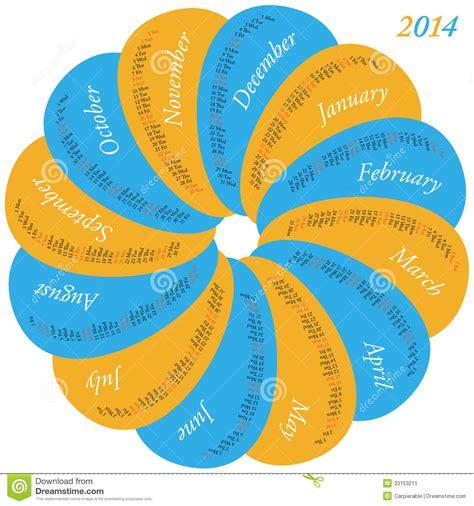 Calendario Circular Calendario Circular Para 2014 Imagen De Archivo Imagen
