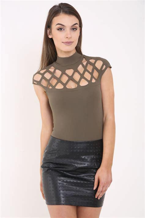 ledies leser cutting womens ladies laser cut out turtle neck bodysuit