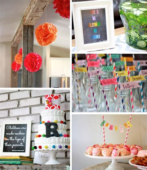 book themed party party ideas pinterest colorful book themed baby shower with so many ideas via