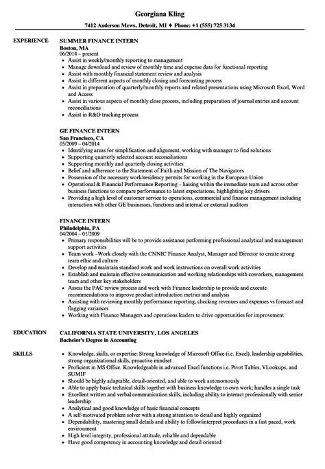 finance intern finance intern resume sles velvet