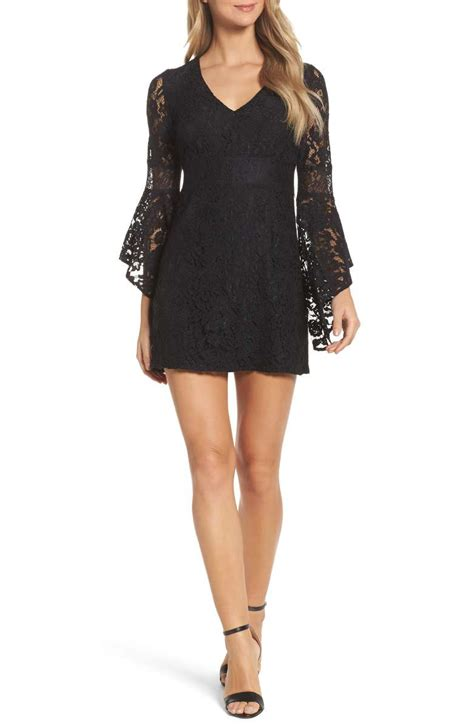 Lush Lace Shift Dress Black
