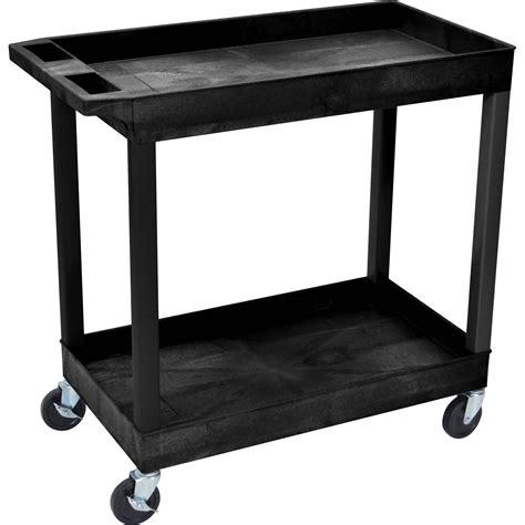 Two Shelf Cart by Luxor 32 X 18 Quot Two Shelf Utility Cart Black Ec11 B B H
