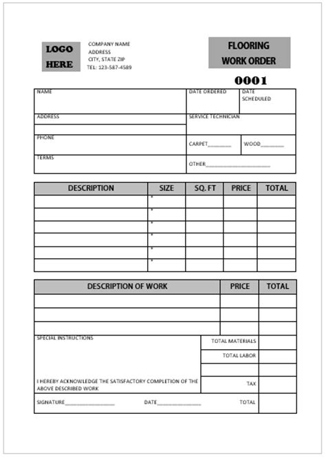 flooring invoice template printable carpet installation invoice templates