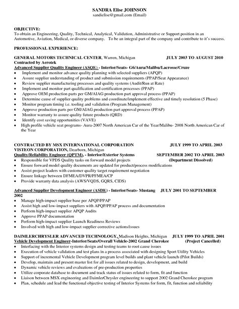 Sle Engineering Resume Profile cover letter sle quality engineer 28 images resume