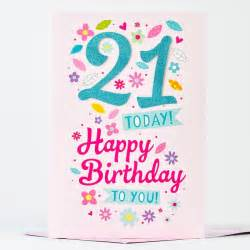 21st birthday card glittery 21 only 99p