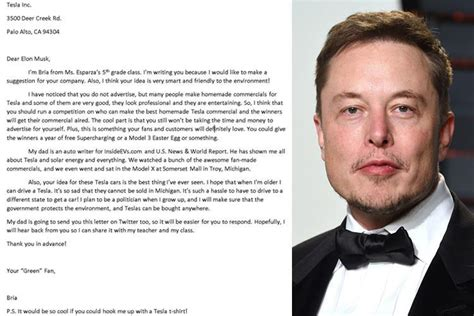 elon musk school girl 10 writes letter to tesla founder elon musk for his
