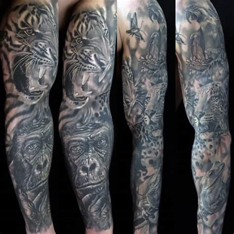 tattoo animal half sleeve grey ink mountains and forest tattoo on left sleeve