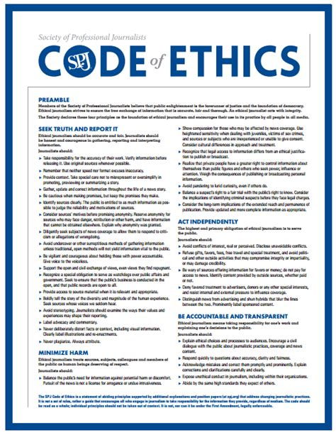 Journalism Code Of Ethics by Journalism Ethics Standards Communication Studies