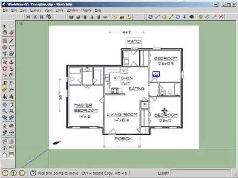 2d floor plan sketchup et365 2d door cut into floorplan walls youtube