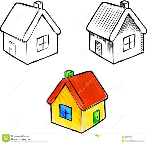 small cartoon house illustration shows done style isolated cute little house vector sketch illustration stock photo