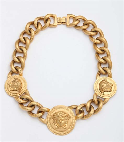 versace 3 medusa gold chain necklace at 1stdibs