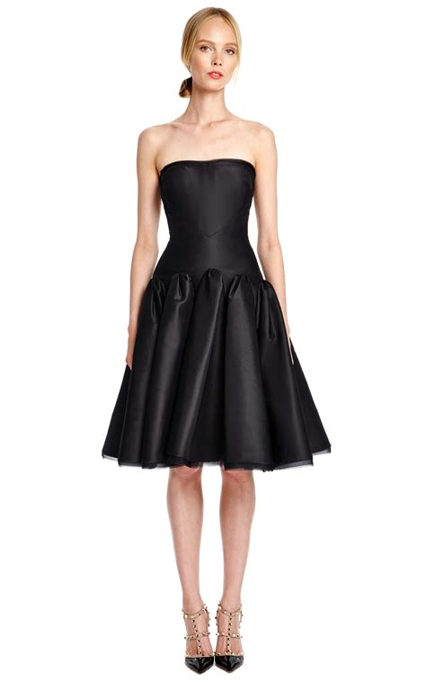 Silk Dress Black 1 zac posen silk faille strapless cocktail dress in black lyst