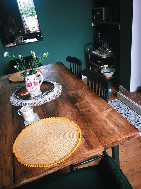 victorian terrace dining room dark green rustic wood