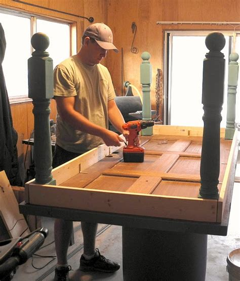 how to make an old door into a headboard table legs for the home pinterest