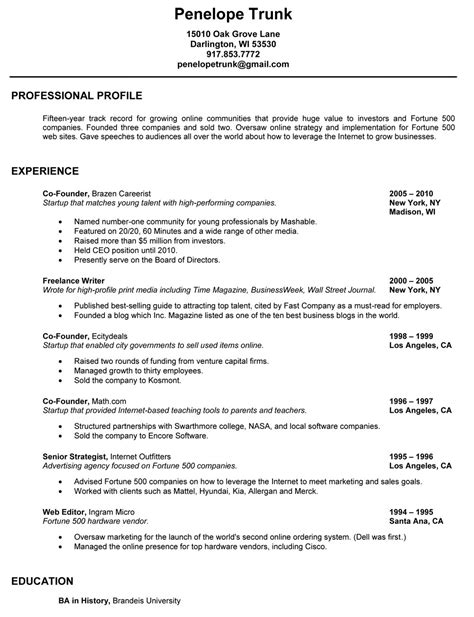 A Great Resume by Write A Great Resume Penelope Trunk Careers