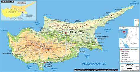 cyprus map physical map of cyprus ezilon maps