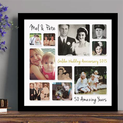 Wedding Anniversary Collage Ideas by Personalised Golden Wedding Anniversary Photo Collage By