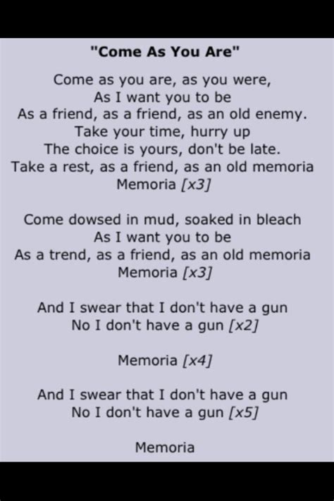 kurt cobain biography come as you are nirvana come as you are lyrics kurt cobain pinterest
